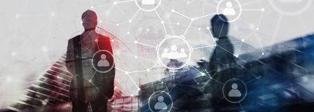 Отношение людей и организационная структура образуйте переговоры принципиальной схемы связи имея social людей средств Концепция д стоковое фото