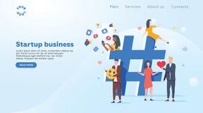 Отношение, онлайн датировка и концепция сети - люди деля информацию через социальные платформы средств массовой информации бесплатная иллюстрация