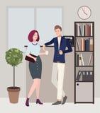 Отношения на работе помадка чашки круасанта кофе пролома предпосылки женщина и человек flirting Красочная плоская иллюстрация Стоковая Фотография RF