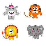 Отображайте вокруг животных, гиппопотама, слона льва тигра иллюстрация штока