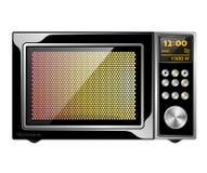 Отображайте качественная черная позволенная микроволновая печь с электронным управлением Стоковые Фотографии RF