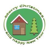 Отображайте дом и дерево на рождестве и Новом Годе Стоковые Фото