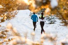 Отображайте от задней части бежать 2 спортсмена в парке зимы стоковое изображение