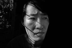 Отожмите женщину в клетке с светом Стоковые Фотографии RF