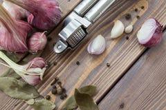 Отожмите чеснок, красный чеснок и специи Стоковые Фотографии RF