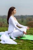 лотос девушки meditates положение Стоковые Изображения