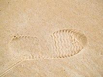 Отпечаток ботинка на песке Стоковое Изображение