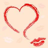 Отпечаток картины губ и сердец Стоковая Фотография RF