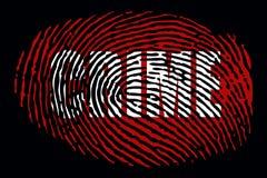 Отпечаток пальцев с ` ЗЛОДЕЯНИЯ ` слова иллюстрация штока