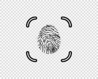 Отпечаток пальцев, электронное идентификация с рамкой Элемент дизайна конспекта вектора изолированный на прозрачной предпосылке иллюстрация вектора