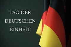 Отправьте СМС день немецкого единства написанный в немце Стоковая Фотография
