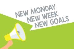 Отправьте СМС знак показывая новому понедельнику цели новой недели новые Схематическое фото положительно каждый старт речи громко иллюстрация штока