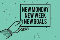 Отправьте СМС знак показывая новому понедельнику цели новой недели новые Схематическое фото положительно каждый старт руки челове иллюстрация вектора