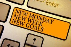 Отправьте СМС знак показывая новому понедельнику цели новой недели новые Схематическое фото положительно каждый старт клавиатуры  стоковое фото