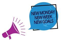 Отправьте СМС знак показывая новому понедельнику цели новой недели новые Схематическое фото положительно каждый старт speaki гром иллюстрация вектора