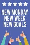 Отправьте СМС знак показывая новому понедельнику цели новой недели новые Схематическое фото положительно каждый старт больших пал иллюстрация штока