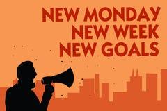 Отправьте СМС знак показывая новому понедельнику цели новой недели новые Схематическое фото положительно каждый старт человека не иллюстрация штока
