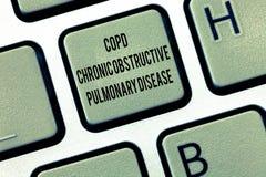 Отправьте СМС знак показывая Copd хроническое обструктивное легочное заболевание Схематическое затруднение болезни легких фото к  стоковые фото
