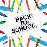 Отправьте СМС назад к школе с красочным текстом и чертежам покрашенный Стоковые Изображения RF