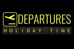 Отправьте СМС сальто доски афиши авиапорта с временем праздника имени слов, перемещением, праздником и ослабьте иллюстрация вектора