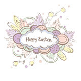 Отправьте СМС счастливая пасха в облаке на красочной предпосылке Милая иллюстрация праздника иллюстрация штока