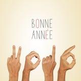 Отправьте СМС annee 2016 bonne, счастливый Новый Год 2016 в французском стоковое изображение rf