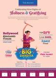 Отпразднуйте 9 ночей шаблона печатной рекламы dandiya Navratri иллюстрация штока