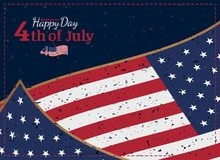 Отпразднуйте счастливое 4-ое -го июль - День независимости Винтажная ретро поздравительная открытка с флагом США и прежней тексту Стоковые Фото