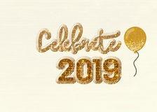 Отпразднуйте 2019 с воздушным шаром золота Иллюстрация вектора