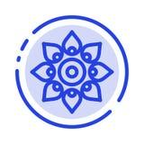 Отпразднуйте, украсьте, украшение, Diwali, индусское, линия значок голубой пунктирной линии Holi иллюстрация вектора