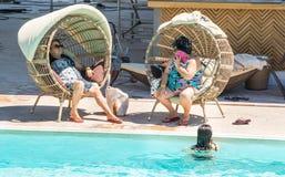 Отпускники на аквапарк гостиница 5 звезд в Kranevo, Болгарии Стоковые Фотографии RF