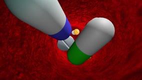 Отравлять с антибиотиками и планшетами женщина суицида пилек передозировки снадобиь химиотерапия Toxicomania 3D анимация иллюстрация вектора