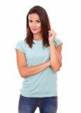 Отражательная дама спрашивая вопрос стоковое изображение rf