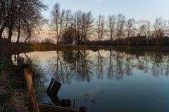 Отражать деревьев которые, который выросли около пруда и домов в деревне на предпосылке на заходе солнца стоковое фото