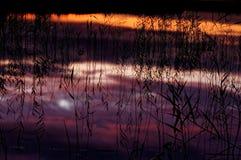 Отражать небо вечера в воде Стоковые Изображения