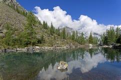 Отражение берега озера в водообильной поверхности Большое более низкое озеро Shavlinsky Горы Altai, Сибирь, Россия стоковые фотографии rf