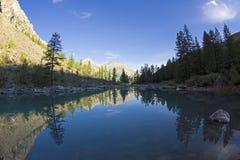 Отражение берега озера в водообильной поверхности стоковое изображение rf