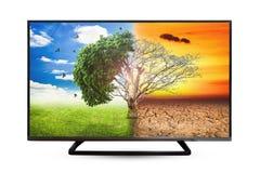 Отражение воды монитора телевидения изолированное на белой предпосылке стоковые фото