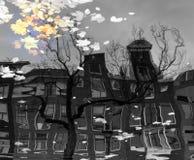 Отражение в канале Амстердама стоковое изображение rf