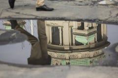Отражение в лужице после дождя стоковое изображение rf