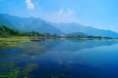 Отражение горы, озеро Dal, Сринагар Стоковые Изображения RF