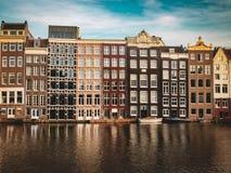 Отражение домов Амстердама стоковая фотография rf