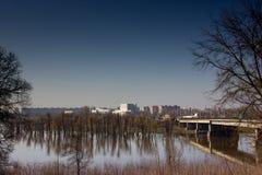 Отражение деревьев на воде. Стоковая Фотография RF