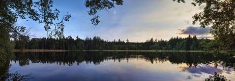 Отражение захода солнца пруда Стоковое Изображение RF