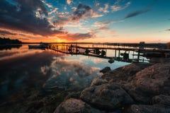 Отражение захода солнца Стоковое Фото