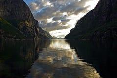 Lysefjord в Норвегии Стоковые Фотографии RF