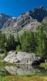 Отражение камня в озере горы, Altai, Россия Стоковые Изображения RF
