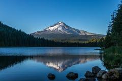 Отражение клобука держателя в озере Орегоне Trillium Стоковые Изображения