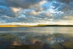 Отражение объемных облаков в отраженной поверхности пруда с мягкими водорослями Стоковые Фото