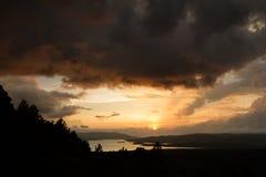 Отражение озера Arenal солнце Стоковая Фотография